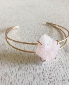 raw gemstone rose quartz cuff