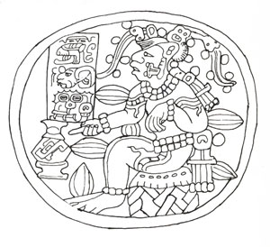 Der Kakaogott der Mayas vor einer Kanne Kakao