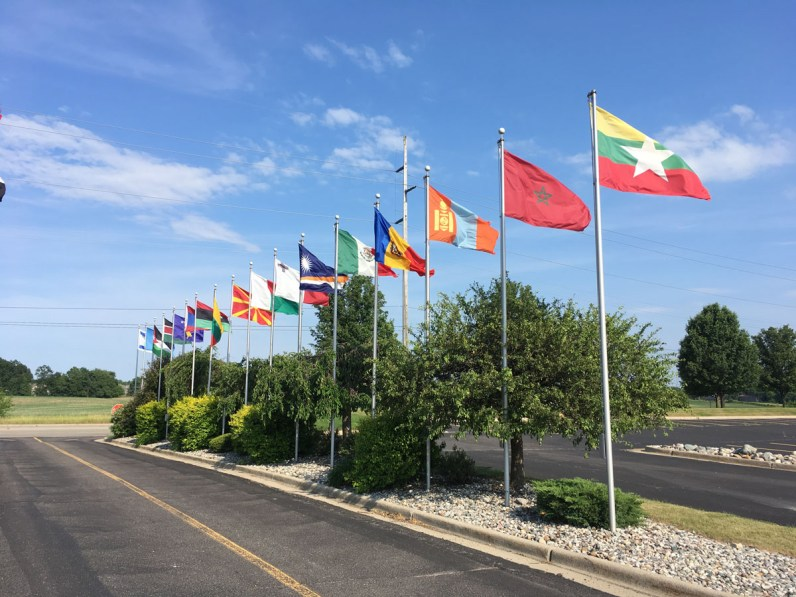 Flags representing the nationalities within the SW Lansing community could be flown.
