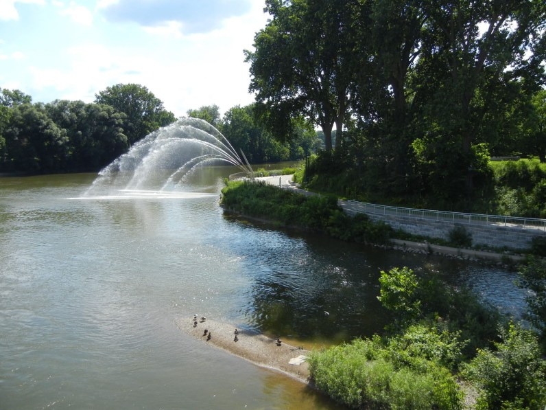 Large jet fountain at the Forks of the Thames is a focal point for the whole city of London, Ontario.
