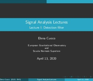 Lecture I: Signal Detection