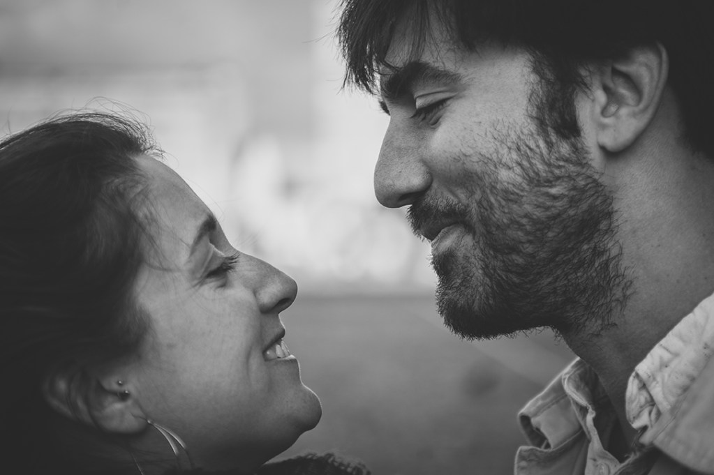 Brussels Engagement Session - couple smiling at each other