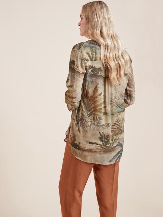 Elenamiro: Blusa in viscosa stampata Verde_2