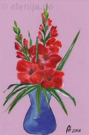 Rote Gladiolen, von Elenija