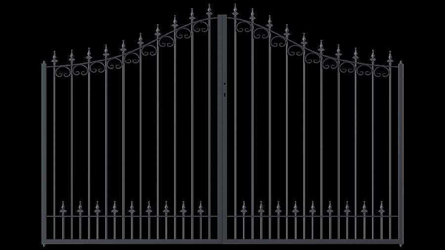 Hoftor Lucca in geschwungener Form mit Spitze Kugellilie, pulverbeschichtet