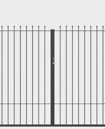 Tor Ancona zweiflügelig gerade in pulverbeschichteter Ausführung mit Spitze Kugelstab
