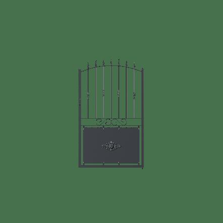 Gartentor Aquila in gebogener Form mit Spitze Lotus, pulverbeschichtet