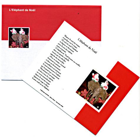 duo carte + enveloppe elephant de noel
