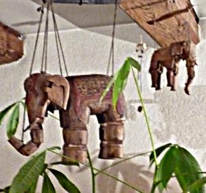 Chez moi les éléphants restent accrochés au plafond...