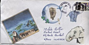 mailart postal mai   _ Dame Mauve