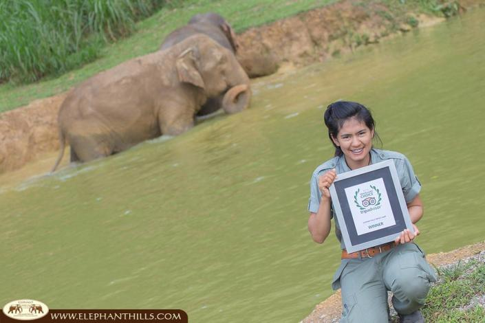 Our tour guide Nong being proud of the Travellers Choice Award