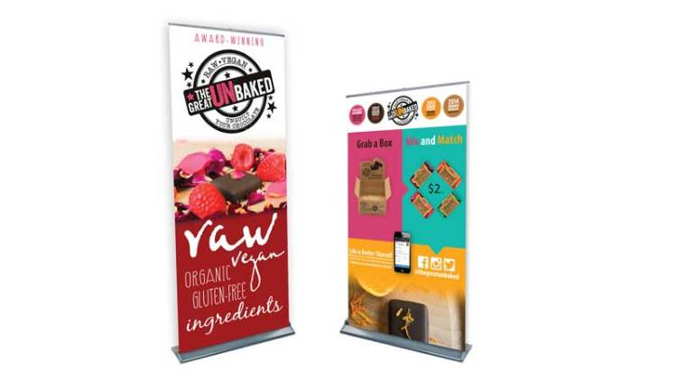 two banner stands we designed side by side