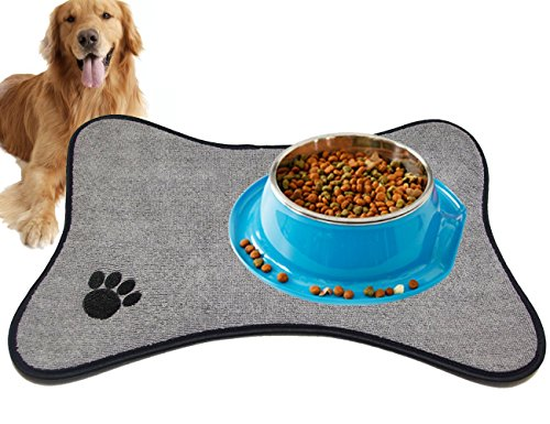 forneat microfiber pet bowl mat washable nonslip great for dogs u0026 cats 12inch x 18inch grey