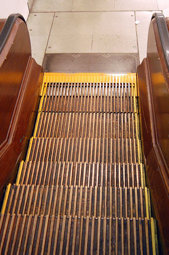 Macy*s wooden escalator New York City