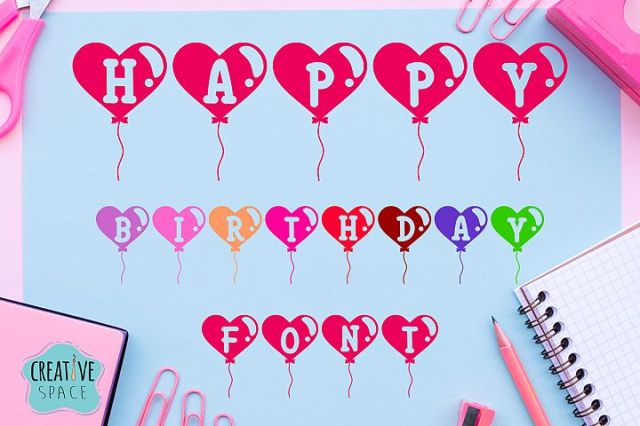 Happy Birthday Balloon Font