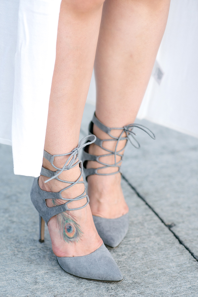 Grey Suede Lace Up Heels