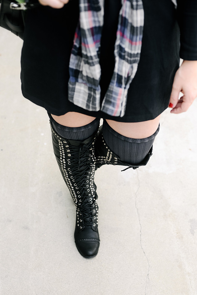 Studded Lace Up Thigh High boots