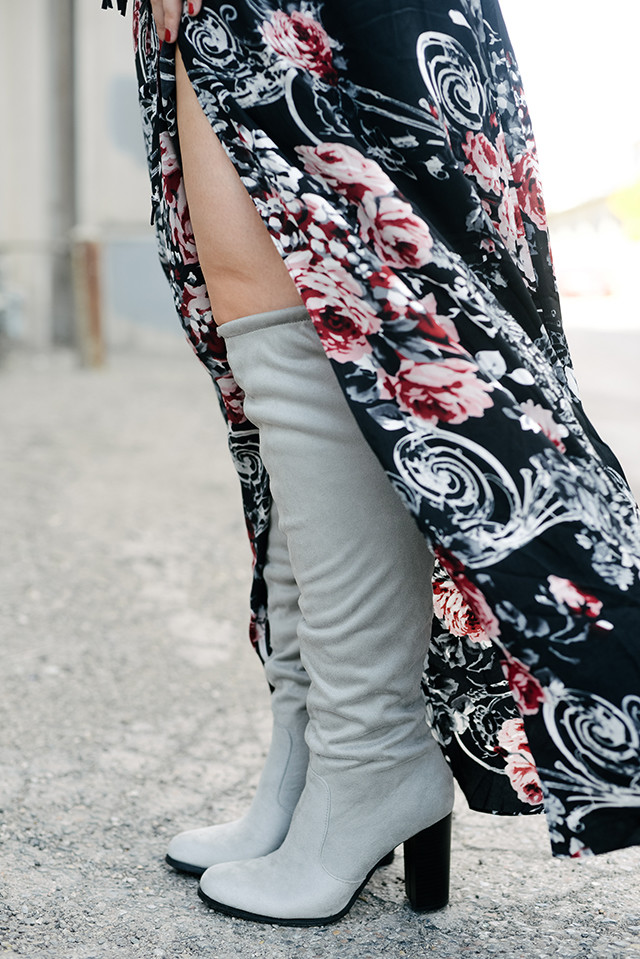 Grey Thigh High Boots
