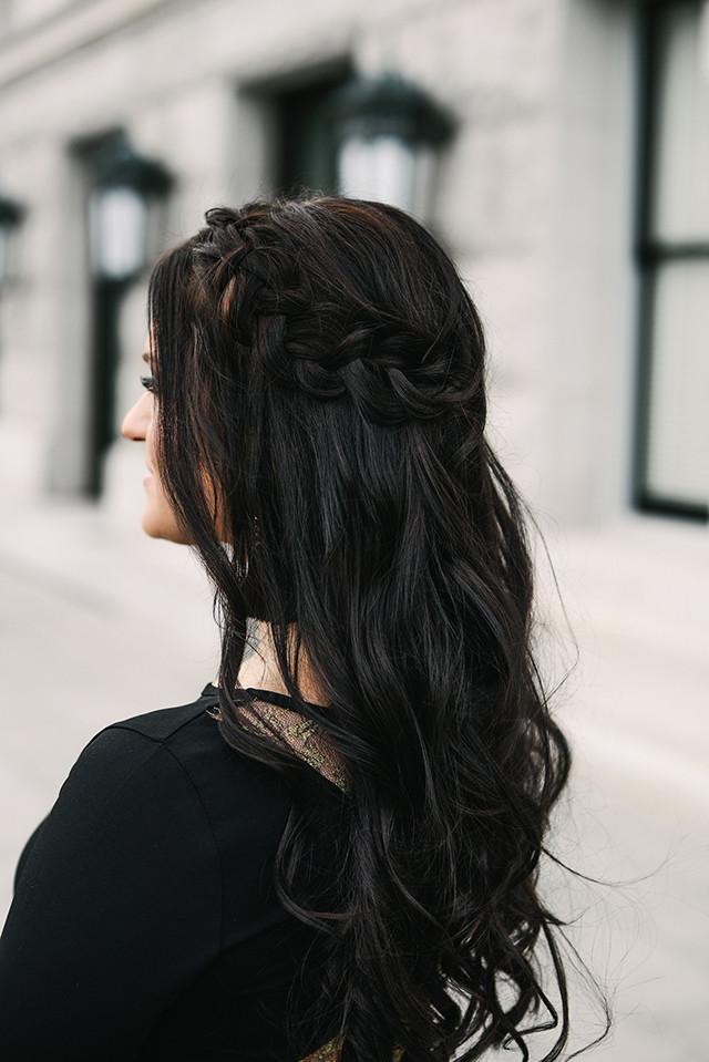 Brunette Braided Crown Hair Style
