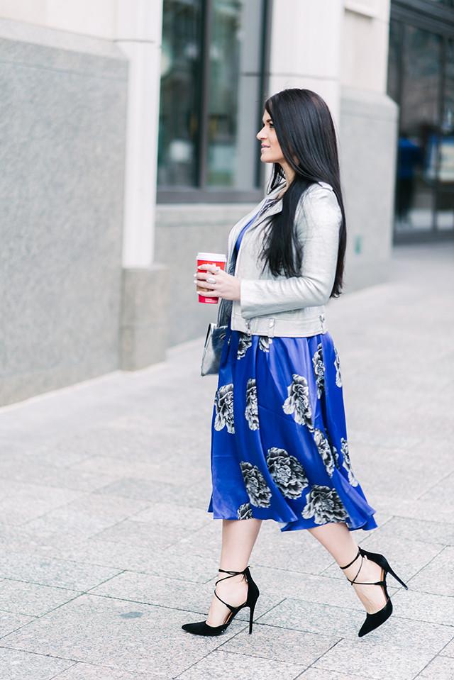 Floral Print Dress and Moto Jacket