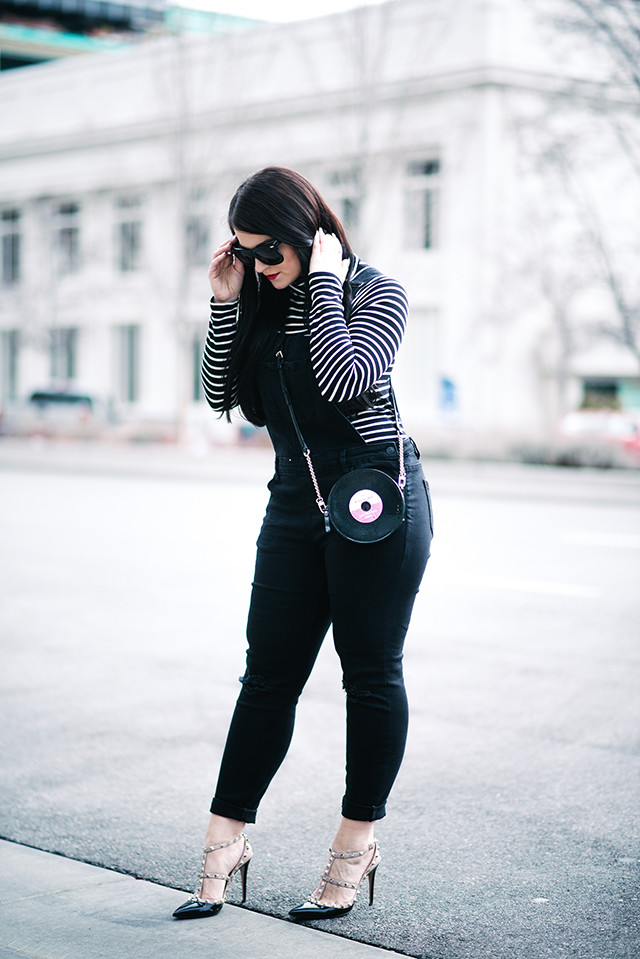 475f0daf1d Black Overalls // Striped Turtleneck // Valentino Heels // Sunglasses