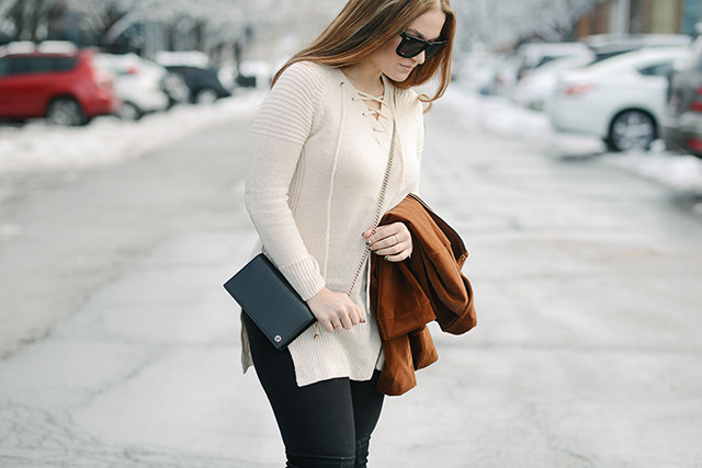 Cream Lace Up Sweater