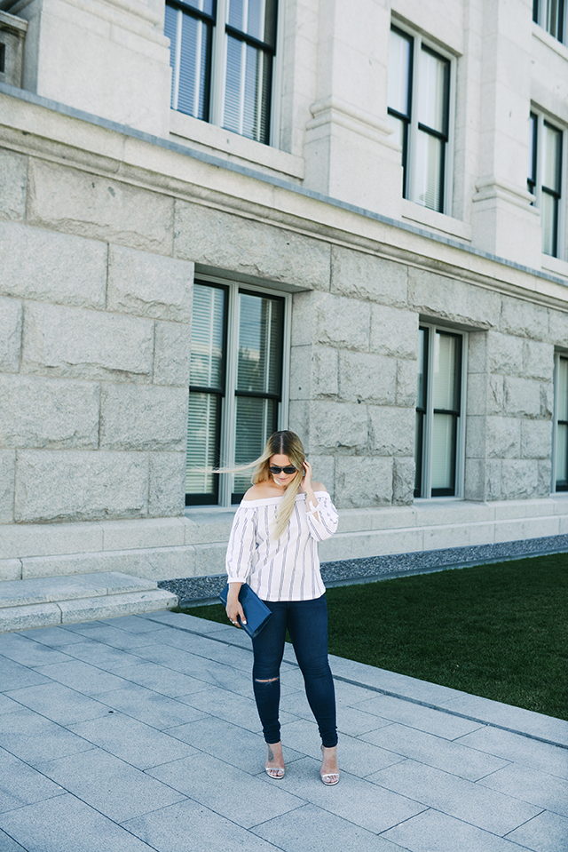 Warehouse Striped off the shoulder top