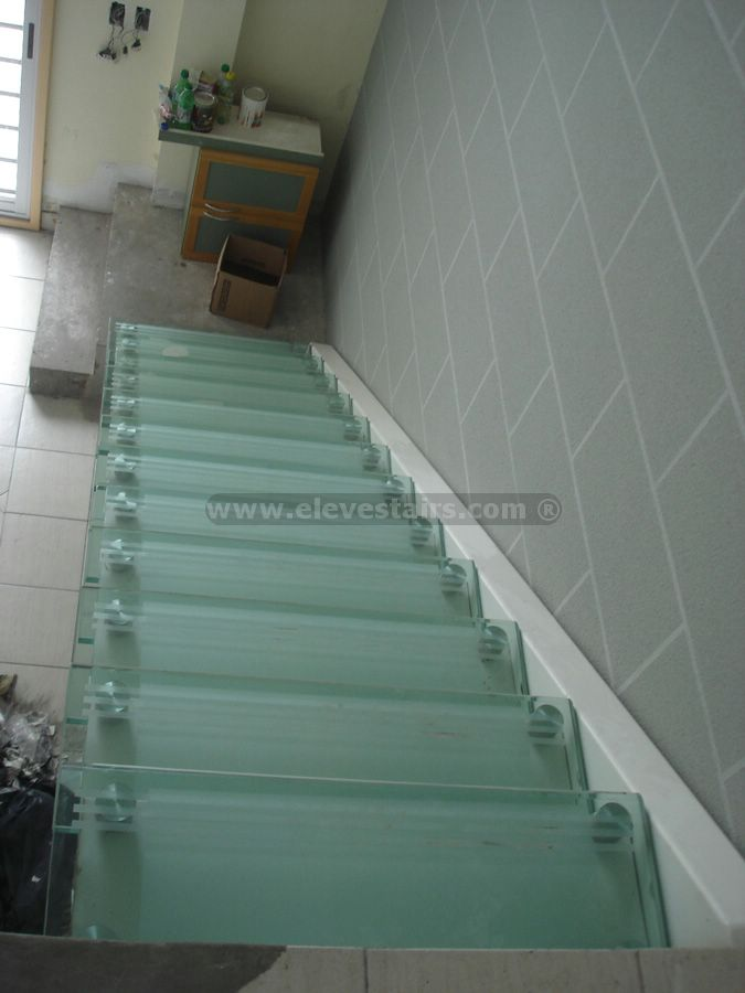 Straight Glass Stairs Crystal Stairs