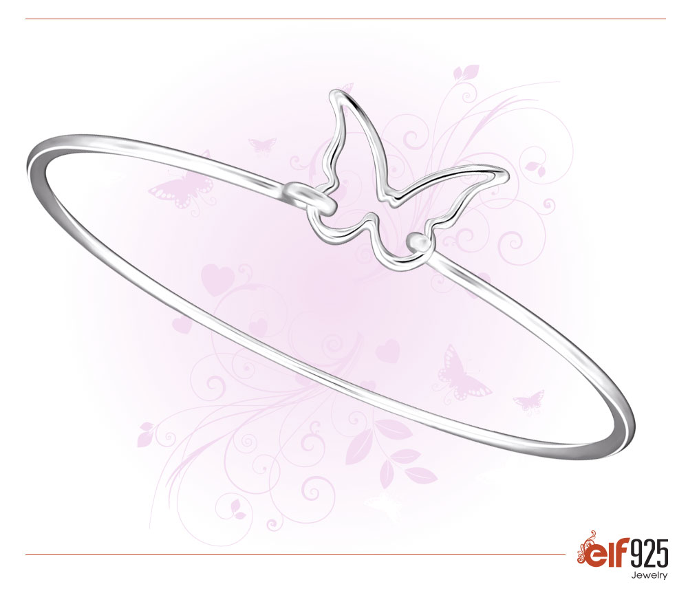 Picture of Sterling Silver Jewelry Butterfly Bangle
