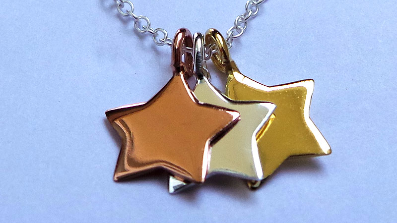 Silver pendant with 3 different types of plating - silver, gold and rose gold