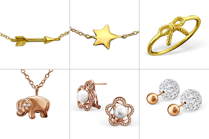 Buy rose gold and yellow gold plated silver jewelry in our shop, wholesale only