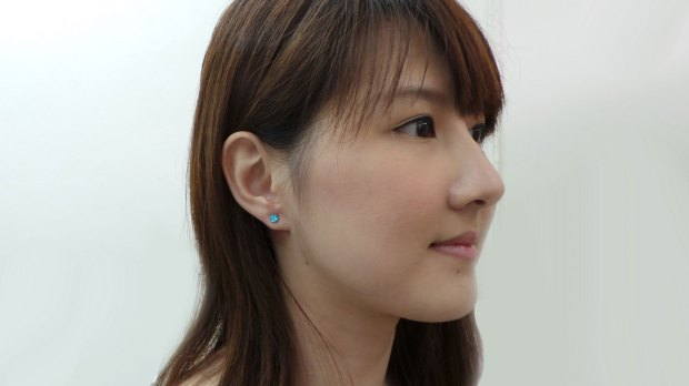 Steel Ear Studs with Crystal Stones