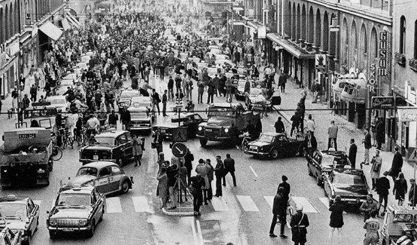 9. La 1ª mañana en Suecia tras cambiar el lado de conducir a la derecha, 1967