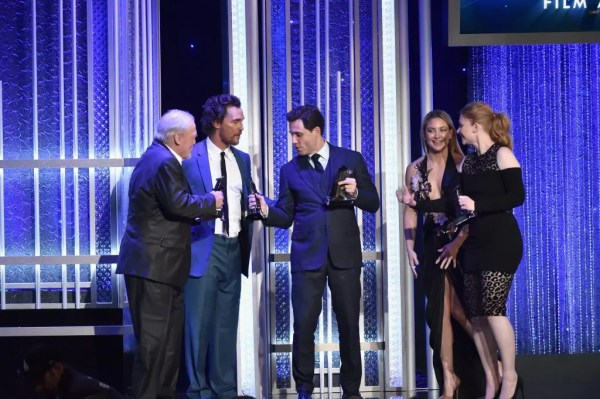 """BEVERLY HILLS, CA - NOVEMBER 06: (L-R) Actors Stacy Keach, Matthew McConaughey, Edgar Ramirez, presenter Kate Hudson and actress Bryce Dallas Howard, recipients of the """"Hollywood Ensemble Award"""" for """"Gold"""", speak onstage at the 20th Annual Hollywood Film Awards at The Beverly Hilton Hotel on November 6, 2016 in Beverly Hills, California. Alberto E. Rodriguez/Getty Images/AFP"""