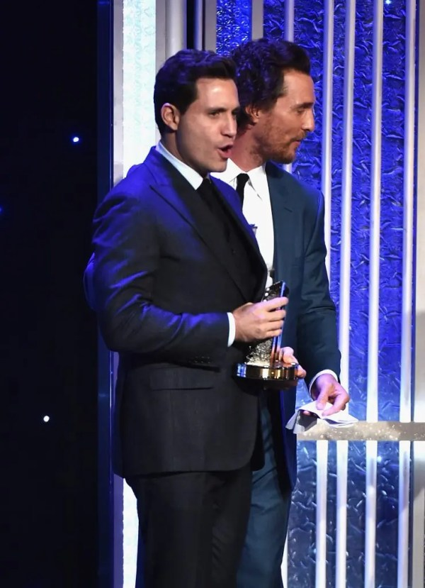 """BEVERLY HILLS, CA - NOVEMBER 06: Actors Edgar Ramirez (L) and Matthew McConaughey, recipients of the """"Hollywood Ensemble Award"""" for """"Gold"""", speak onstage during the 20th Annual Hollywood Film Awards on November 6, 2016 in Beverly Hills, California. Alberto E. Rodriguez/Getty Images/AFP"""