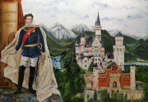 König Ludwig II. mit Schloss Neuschwanstein