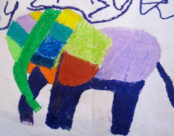 Photograph of a painting of an elephant, by Brad, aged eight.