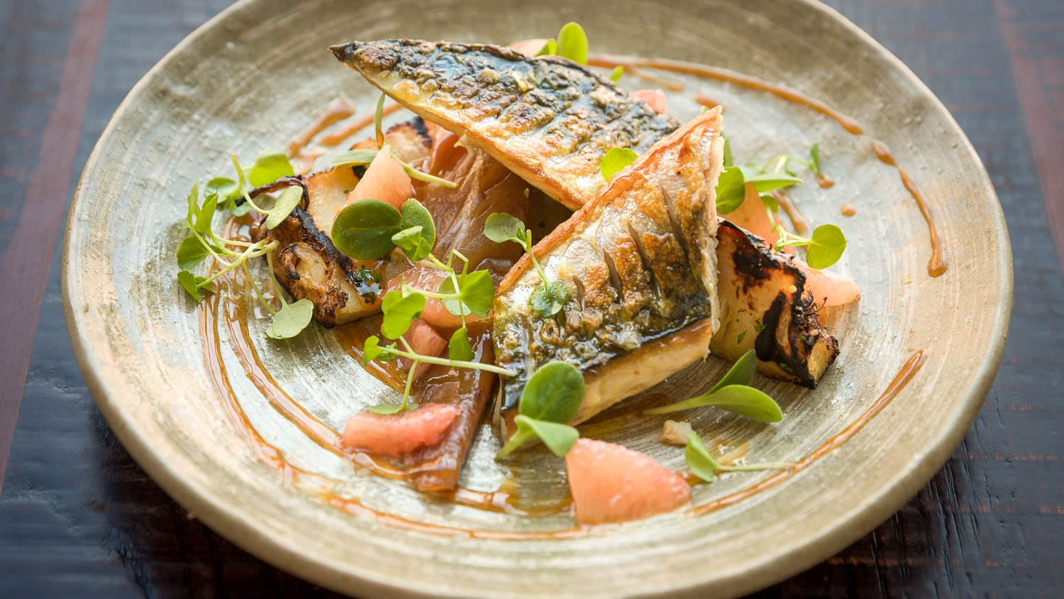 'Hot & cold' sugar-cured mackerel with salt-baked celeriac and pink grapefruit salad