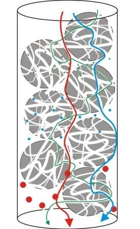 Flujo de moléculas en una cromatografía