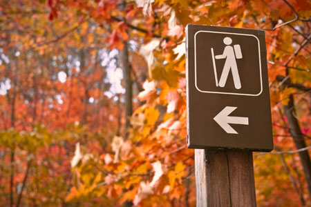 Hike route sign in fall