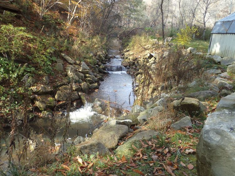 Fall colours at Fish Hatchery. New waterfalls installed recently.