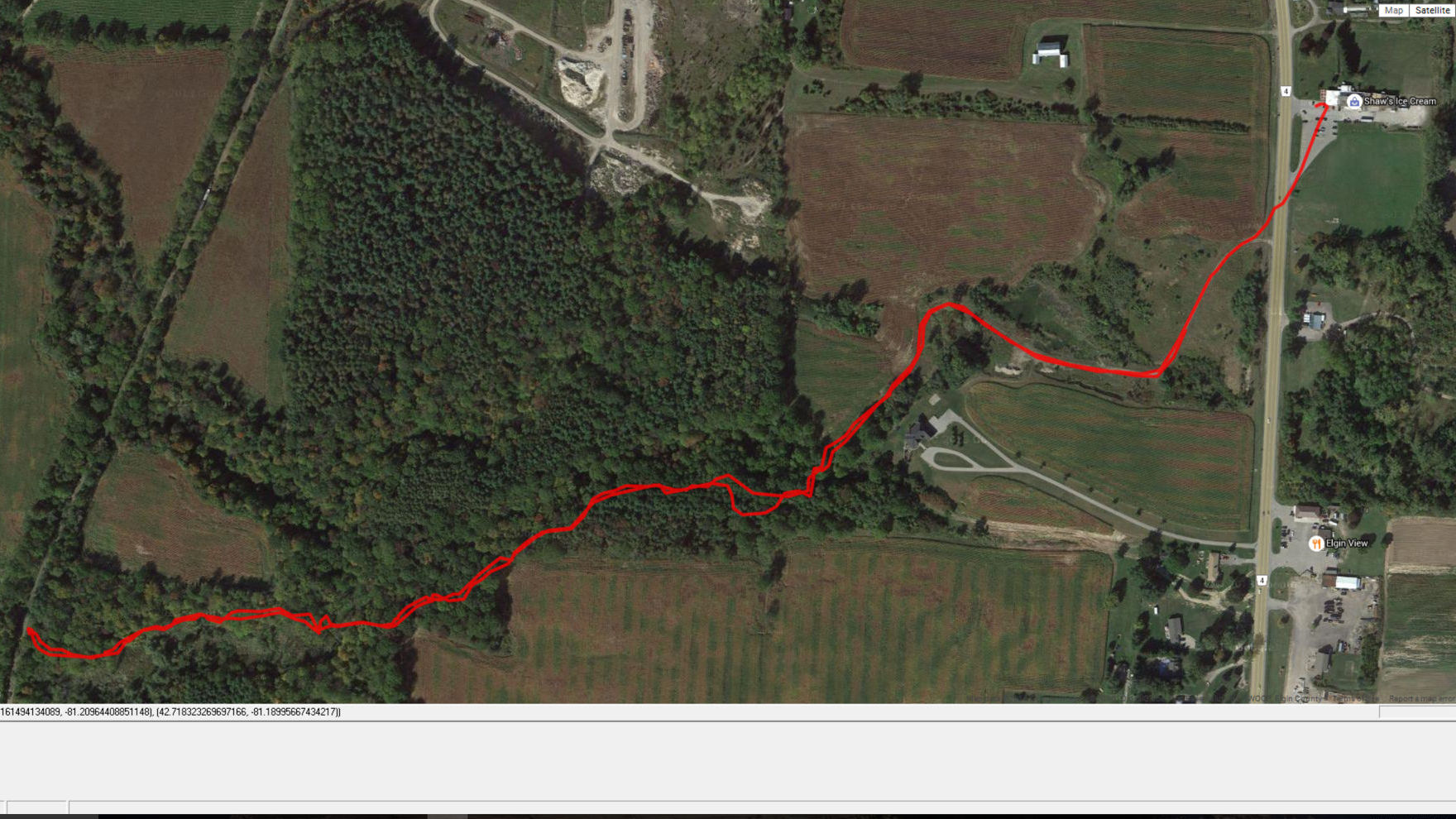 This is the route we took on the blue side trail, notice the PSTR train in top left corner.