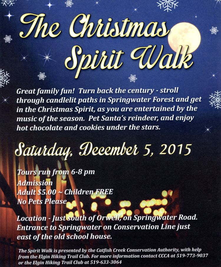 Catfish Creek Conservation Authority and Elgin Hiking Trail Club present our annual Christmas Spirit Walk..