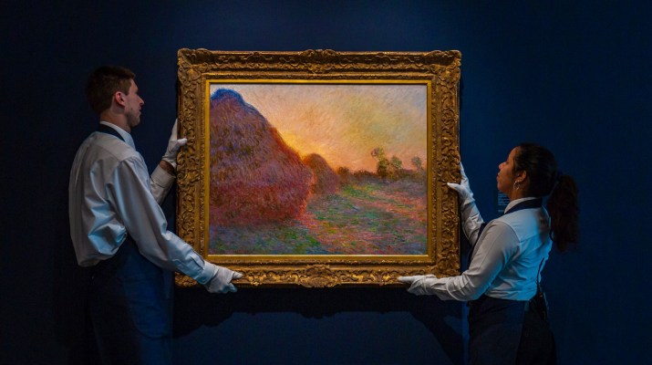 "This undated photo provided by Sotheby's shows Claude Monet's painting titled ""Meules."" The painting, one of Monet's iconic paintings of haystacks, has fetched a record $110.7 million at an auction in New York. The 1890 painting sold at Sotheby's sale of Impressionist & Modern Art Tuesday night, May 14, 2019. (Courtesy Sotheby's via AP)"