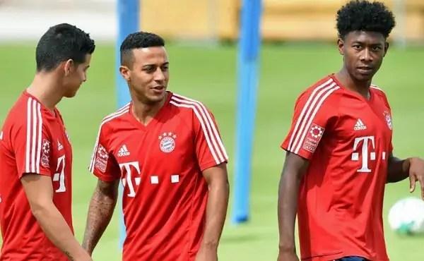 Thiago Alcántara con el Bayern Múnich