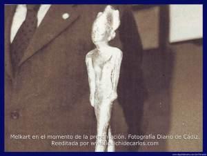Melkart. Aparecido en la Isla de Sancti Petri en el término municipal de San Fernando. Fotografía Diario de Cádiz, reeditada por El Güichi de Carlos.