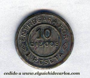 Anverso de los discos de la constructora de una peseta. Cedido por José María Hurtado Egea.
