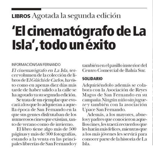 Noticia. Se agota la segunda edición de El cinematógrafo en La Isla