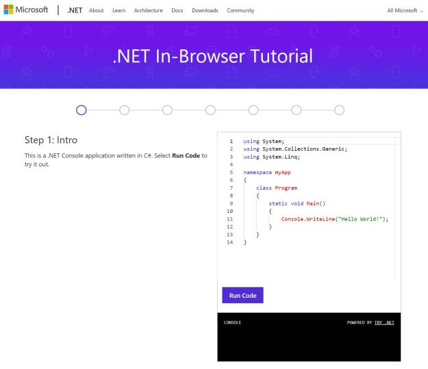 Figura 3. El tutorial de .NET In-Browser