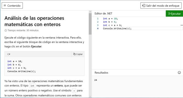 Figura 6. El tutorial de C# sigue con el compilador In-Browser